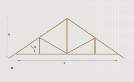 Section of Engineered Attic Roof Trusses